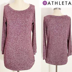 Athleta Long Sleeve Heathered Shirt Size Maroon M